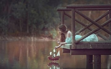 озеро, природа, девушка, парусник, причал, кораблик