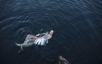 девушка, модель, лицо, перья, в воде, aleah michele