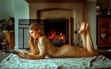 girl, dress, blonde, room, lantern, fireplace, plaid, book, carlos, marhraoui