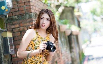 девушка, платье, взгляд, фотоаппарат, волосы, лицо, милашка, азиатка, боке