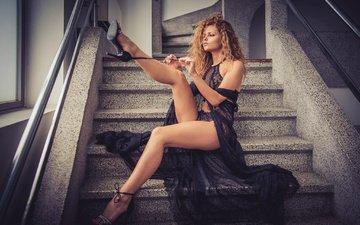 ladder, steps, girl, dress, model, legs, yuliya yaroshenko