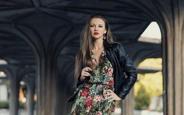девушка, платье, взгляд, модель, волосы, губы, лицо, кожаная куртка, olga hrudnak
