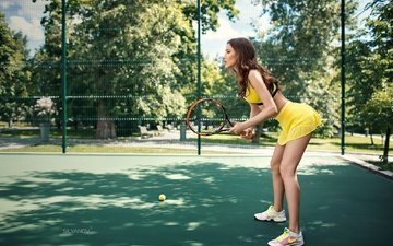 girl, dress, pose, profile, legs, sport, tennis, racket, court, stanislav silyanov, the fourth silanov