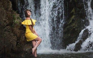 rocks, girl, dress, waterfall, look, chest, legs, hair, face