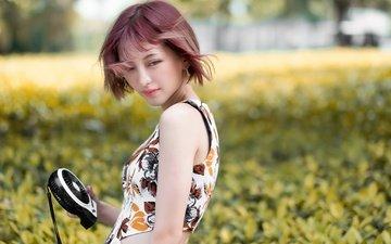 растения, девушка, портрет, взгляд, волосы, лицо, азиатка