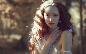 девушка, портрет, взгляд, бабочка, учеба, рыжая, волосы, лицо, бабочки, chubymi, alexia giordano, marta bevacqua, chuby mi