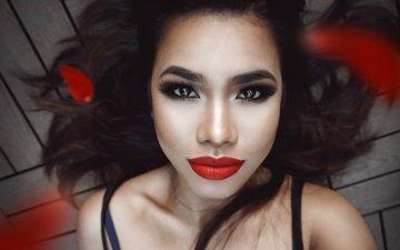 девушка, портрет, взгляд, волосы, губы, лицо, макияж, азиатка, красная помада, ruby, красная помада на губах