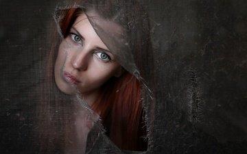 девушка, портрет, взгляд, сетка, ткань, губы, рыжеволосая, fulvia