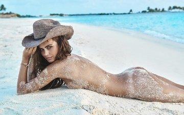 девушка, поза, брюнетка, взгляд, модель, лицо, макияж, секси, шляпа, голая, попка, xenia deli