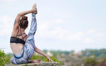 девушка, татуировки, растяжка, фитнес, боке, спортивная одежда, йога, тренировки