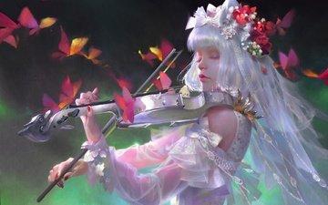 девушка, скрипка, музыка, бабочки, фантазии, иллюстрация, the new works.新作, wei feng