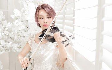 девушка, скрипка, музыка, взгляд, волосы, макияж, азиатка, музыкальный инструмент