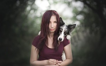 девушка, мордочка, взгляд, собака, щенок, волосы, лицо, друзья, анна, австралийская овчарка, alicja zmysłowska