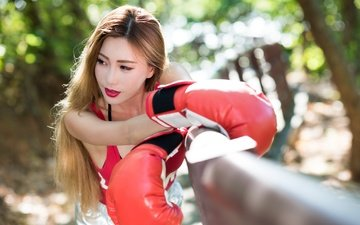 девушка, модель, спорт, макияж, бокс, азиатка, длинные волосы, боксерские перчатки
