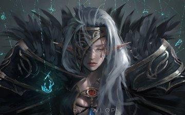 девушка, воин, аниме, эльф, магия, броня, wlop, dungeon and fighter