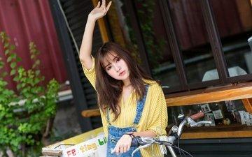 девушка, взгляд, волосы, лицо, азиатка, велосипед, жест