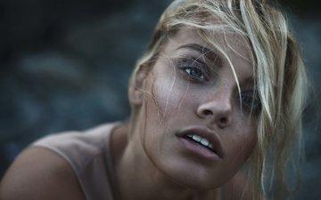 девушка, блондинка, портрет, взгляд, модель, волосы, губы, лицо, aleah michele, прядь