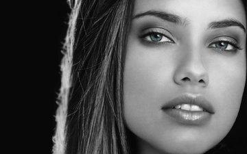 девушка, портрет, взгляд, чёрно-белое, модель, губы, лицо, адриана лима