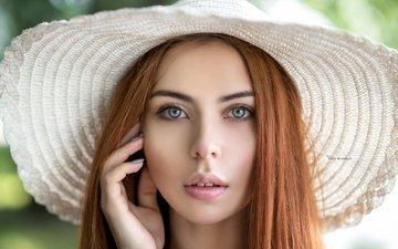 девушка, портрет, взгляд, модель, губы, лицо, шляпа, длинные волосы, maksim romanov