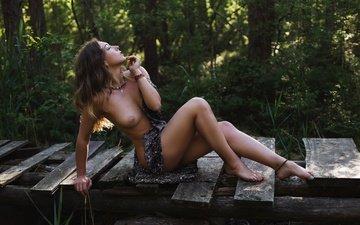 девушка, взгляд, модель, грудь, позирует, евгений решетов, даша зубкова