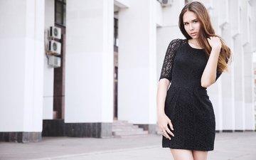 девушка, взгляд, модель, лицо, черное платье, длинные волосы