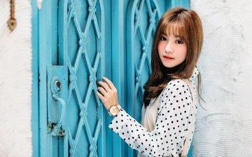 девушка, взгляд, дверь, модель, волосы, лицо, азиатка
