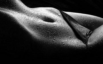 girl, drops, black and white, tummy