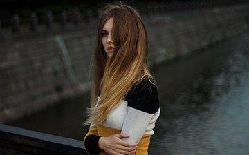 девушка, взгляд, модель, лицо, длинные волосы, рома кучма