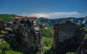 mountains, rocks, summer, house, greece, meteora