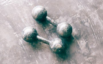 two, dumbbells, old