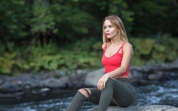 water, girl, blonde, model, jeans, chest, legs