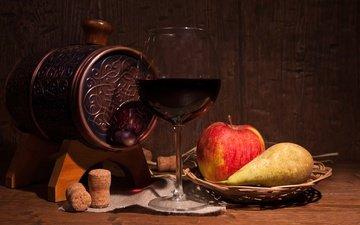 фрукты, бокал, яблоко, вино, ваза, натюрморт, груша, пробки, бочонок