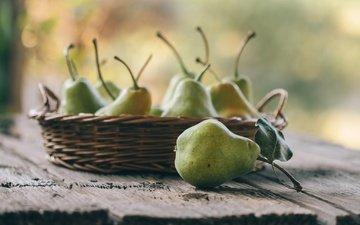 фрукты, плоды, корзинка, груши, груша, боке, деревянная поверхность