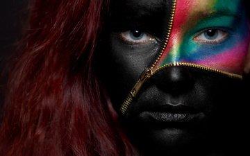 глаза, девушка, молния, портрет, взгляд, рыжая, волосы, лицо, застёжка