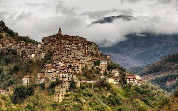 горы, туман, дома, италия, лигурия, априкале