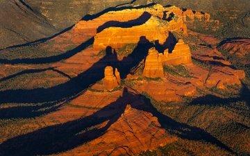 горы, скалы, каньон, тень, сша, аризона, седона