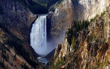 mountains, rocks, yellowstone national park, waterfall, lower falls
