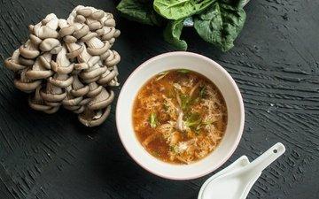 зелень, грибы, суп, вешенки