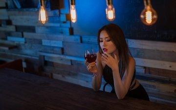 девушка, грусть, модель, бокал, волосы, лицо, вино, макияж, лампы