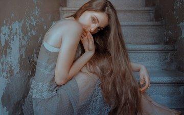 лестница, девушка, взгляд, модель, лицо, длинные волосы, alexandra, estival