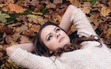 листья, девушка, парк, взгляд, осень, лежит, модель, волосы, лицо, макияж, свитер, задумчивость