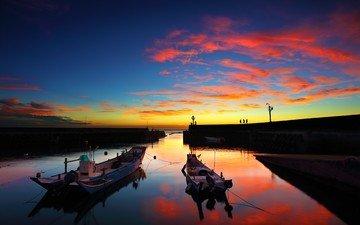 небо, природа, закат, горизонт, лодки