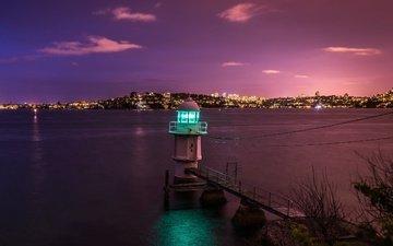 ночь, вода, природа, море, маяк, город, побережье, залив, сидней, сумерки, австралия