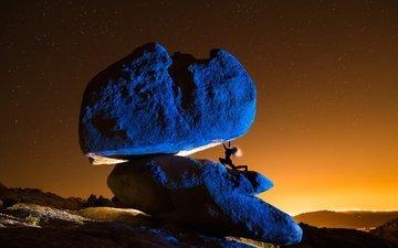 ночь, космос, камни, девушка, звезды, креатив