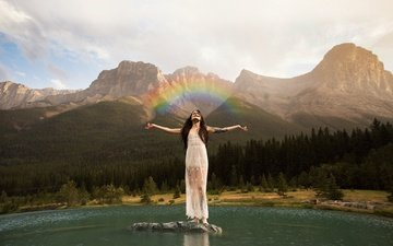 the sky, clouds, lake, mountains, girl, rainbow, hands, white dress