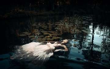 water, lake, girl, dress, the situation, hair, face, closed eyes
