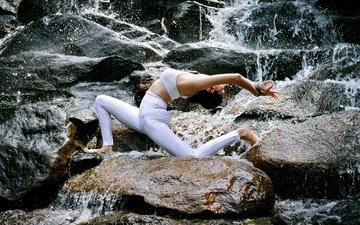 вода, природа, камни, девушка, поза, йога, гимнастика