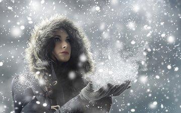 снег, зима, девушка, снежинки, взгляд, волосы, лицо, капюшон, перчатки, пуховик