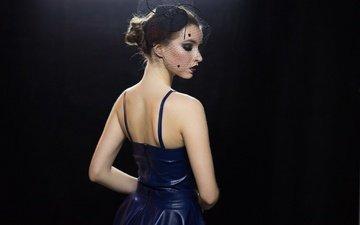 стиль, девушка, фон, профиль, лицо, макияж, вуаль, голые плечи, синее платье