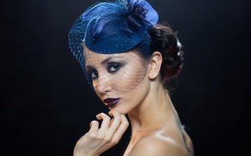 стиль, девушка, портрет, взгляд, черный фон, губы, лицо, макияж, вероника, alexander plonsky